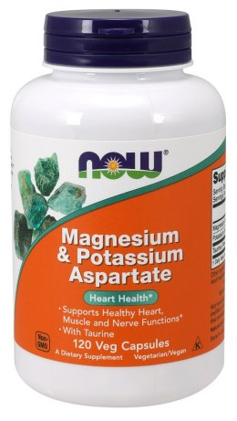 Magnesium & Potassium Aspartate with Taurine (magnez i potas z tauryną) 120 kaps. NOW FOODS